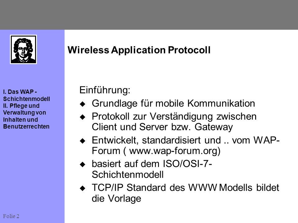 Folie 2 I. Das WAP - Schichtenmodell II. Pflege und Verwaltung von Inhalten und Benutzerrechten Wireless Application Protocoll Einführung: Grundlage f