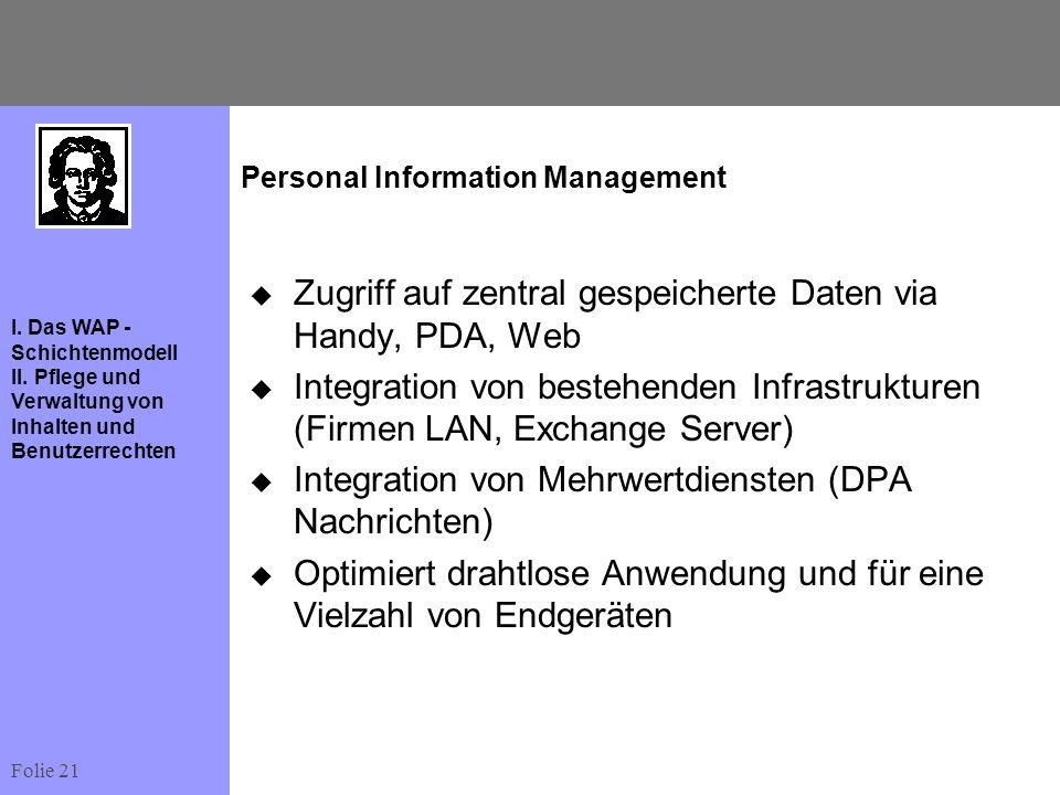 Folie 21 I. Das WAP - Schichtenmodell II. Pflege und Verwaltung von Inhalten und Benutzerrechten Personal Information Management Zugriff auf zentral g