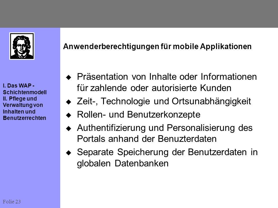 Folie 23 I. Das WAP - Schichtenmodell II. Pflege und Verwaltung von Inhalten und Benutzerrechten Anwenderberechtigungen für mobile Applikationen Präse