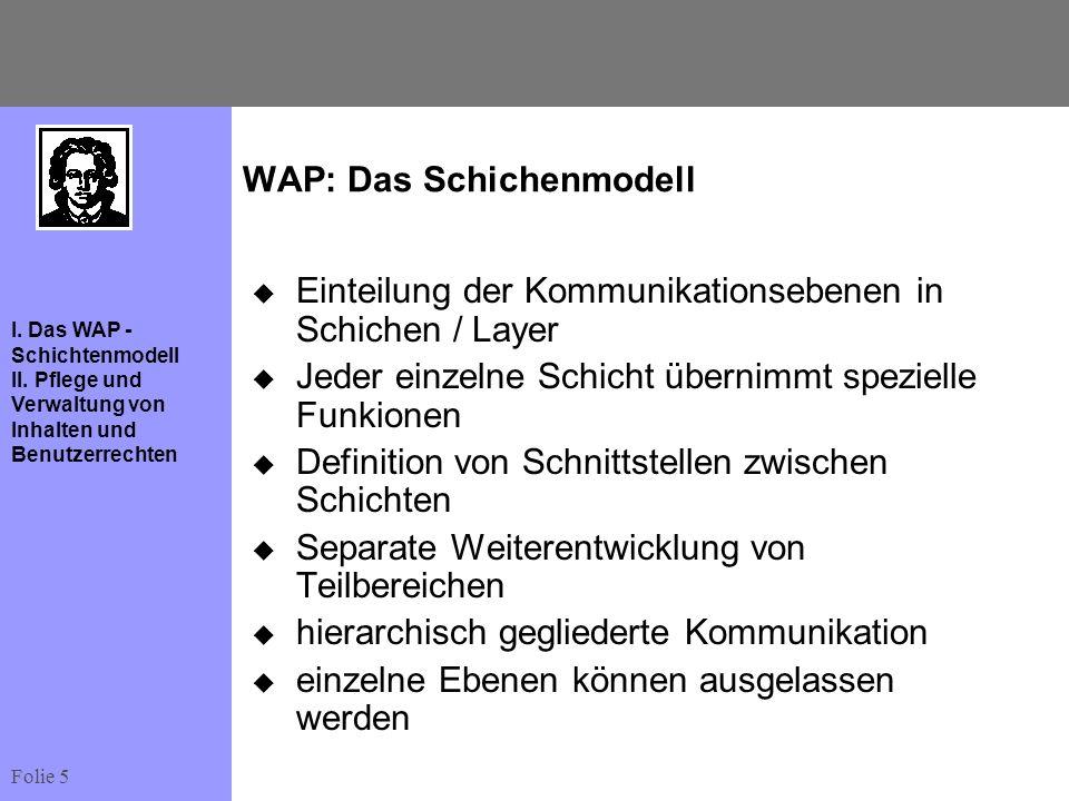 Folie 5 I. Das WAP - Schichtenmodell II. Pflege und Verwaltung von Inhalten und Benutzerrechten WAP: Das Schichenmodell Einteilung der Kommunikationse