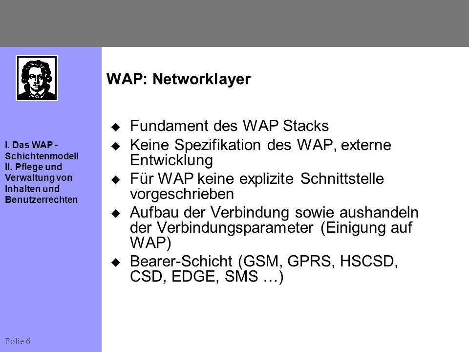 Folie 6 I. Das WAP - Schichtenmodell II. Pflege und Verwaltung von Inhalten und Benutzerrechten WAP: Networklayer Fundament des WAP Stacks Keine Spezi