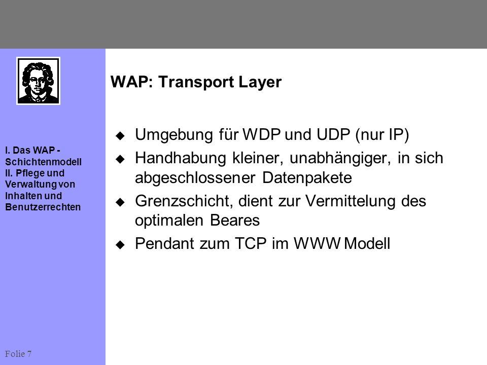 Folie 7 I. Das WAP - Schichtenmodell II. Pflege und Verwaltung von Inhalten und Benutzerrechten WAP: Transport Layer Umgebung für WDP und UDP (nur IP)