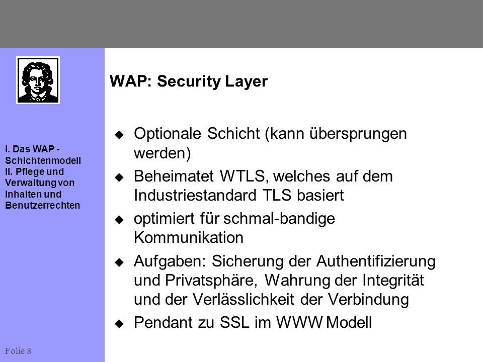Folie 8 I. Das WAP - Schichtenmodell II. Pflege und Verwaltung von Inhalten und Benutzerrechten WAP: Security Layer Optionale Schicht (kann übersprung