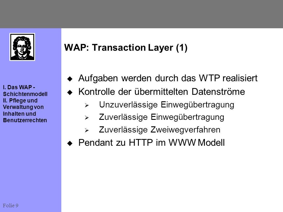 Folie 9 I. Das WAP - Schichtenmodell II. Pflege und Verwaltung von Inhalten und Benutzerrechten WAP: Transaction Layer (1) Aufgaben werden durch das W