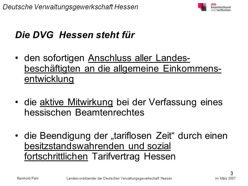 24 Deutsche Verwaltungsgewerkschaft Hessen Versorgungsempfänger sind keine Prügelknaben Die DVG Hessen erkennt an, dass die wachsende Zahl der Versorgungsempfänger zunehmend die Finanz- spielräume des Landeshaushaltes einschränken wird.