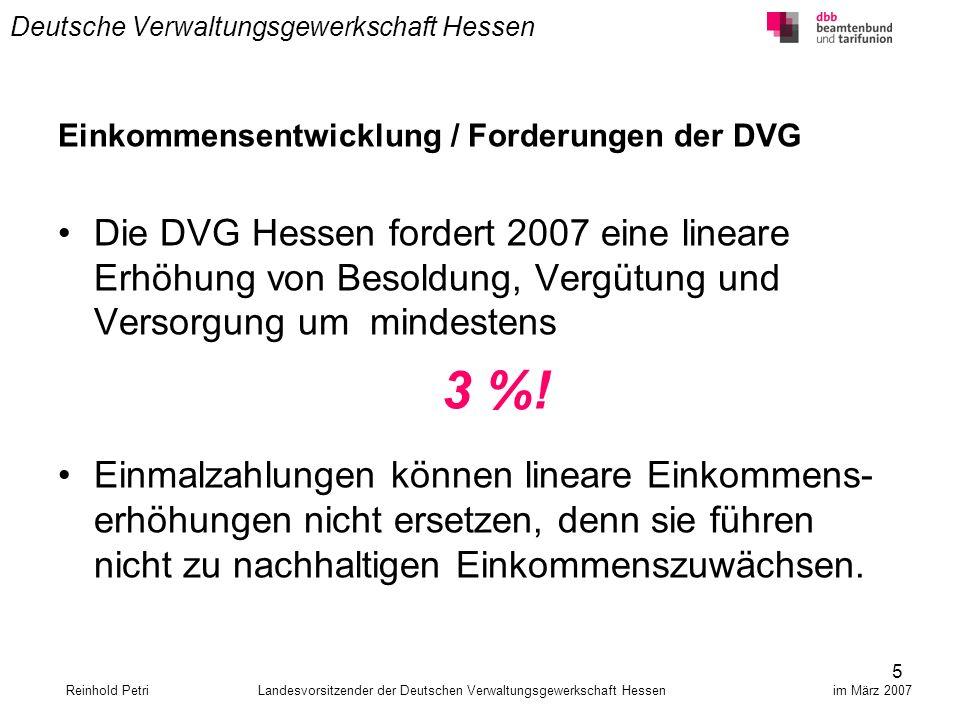 5 Deutsche Verwaltungsgewerkschaft Hessen Einkommensentwicklung / Forderungen der DVG Die DVG Hessen fordert 2007 eine lineare Erhöhung von Besoldung,