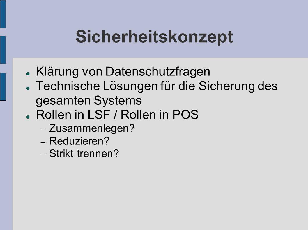 Sicherheitskonzept Klärung von Datenschutzfragen Technische Lösungen für die Sicherung des gesamten Systems Rollen in LSF / Rollen in POS Zusammenlege