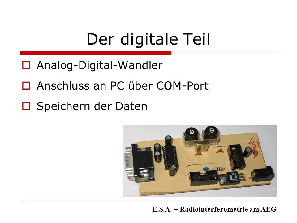 Der digitale Teil Analog-Digital-Wandler Anschluss an PC über COM-Port Speichern der Daten E.S.A. – Radiointerferometrie am AEG