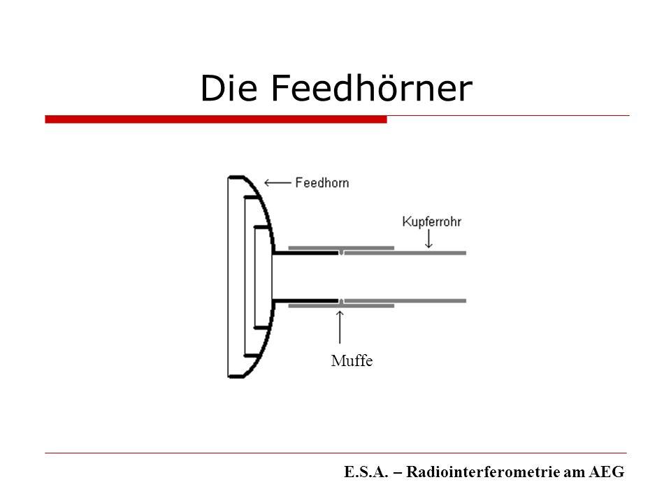 Ausblick Mögliche Erweiterung: mehrere Elemente Verbesserung der Elektronik: Satfinder richtiger Detektor Bauliche Veränderung: Elektrische Elevationssteuerung Software: Verwaltung der Messvorgänge E.S.A.