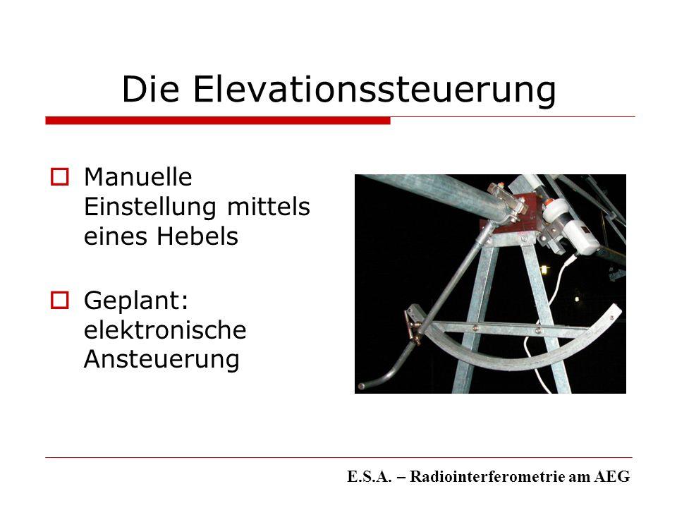 Die Elevationssteuerung Manuelle Einstellung mittels eines Hebels Geplant: elektronische Ansteuerung E.S.A. – Radiointerferometrie am AEG