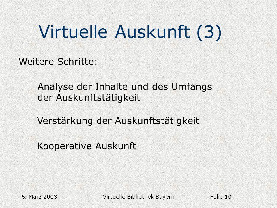 6. März 2003Virtuelle Bibliothek Bayern Virtuelle Auskunft (3) Weitere Schritte: Analyse der Inhalte und des Umfangs der Auskunftstätigkeit Verstärkun