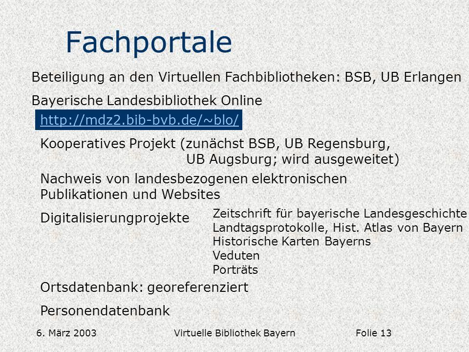 6. März 2003Virtuelle Bibliothek Bayern Fachportale Beteiligung an den Virtuellen Fachbibliotheken: BSB, UB Erlangen Bayerische Landesbibliothek Onlin