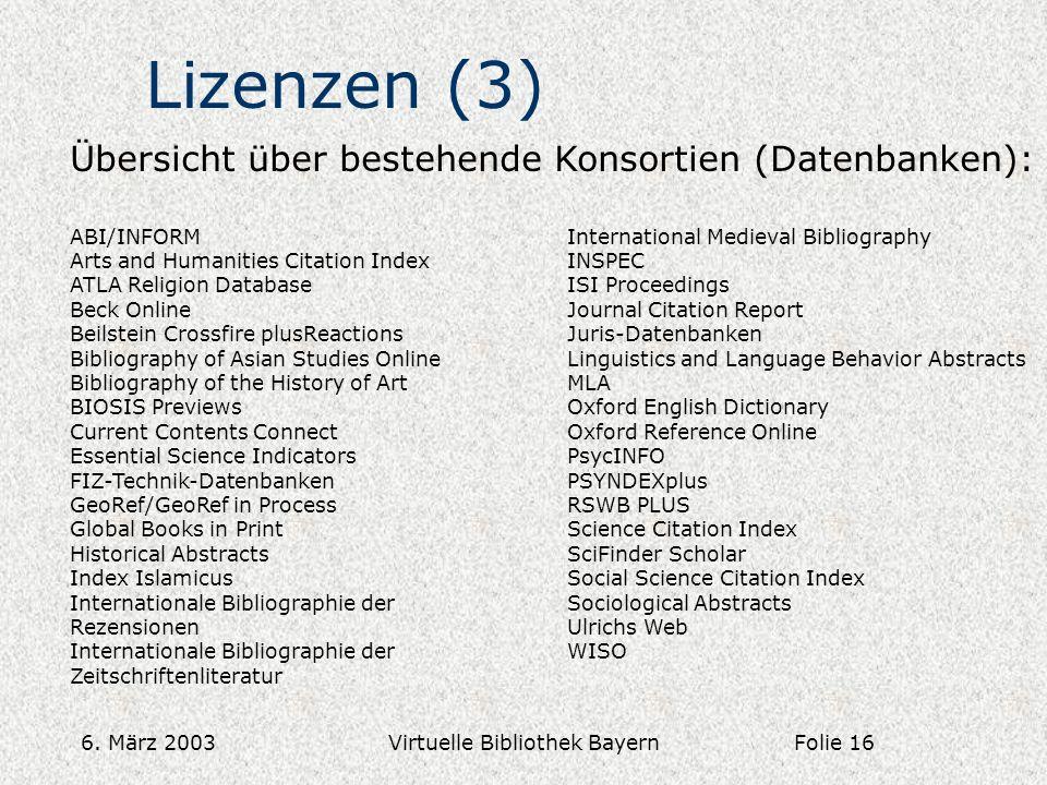 6. März 2003Virtuelle Bibliothek Bayern Lizenzen (3) Übersicht über bestehende Konsortien (Datenbanken): ABI/INFORM Arts and Humanities Citation Index