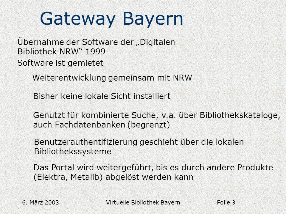 6. März 2003Virtuelle Bibliothek Bayern Gateway Bayern Übernahme der Software der Digitalen Bibliothek NRW 1999 Software ist gemietet Weiterentwicklun