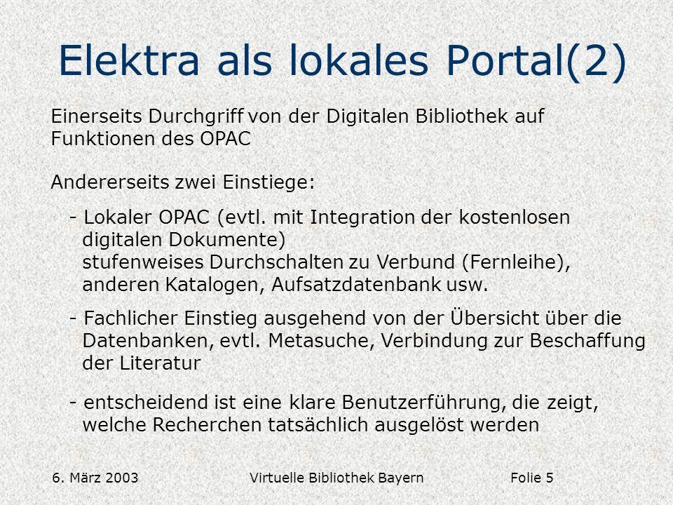 6. März 2003Virtuelle Bibliothek Bayern Elektra als lokales Portal(2) Einerseits Durchgriff von der Digitalen Bibliothek auf Funktionen des OPAC Ander