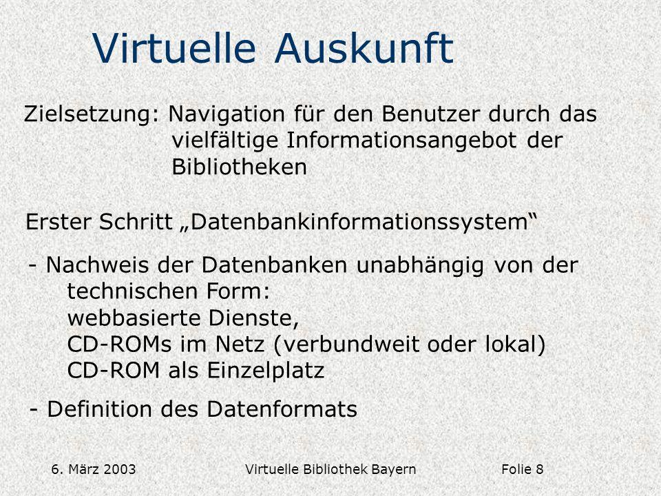 6. März 2003Virtuelle Bibliothek Bayern Virtuelle Auskunft Zielsetzung: Navigation für den Benutzer durch das vielfältige Informationsangebot der Bibl