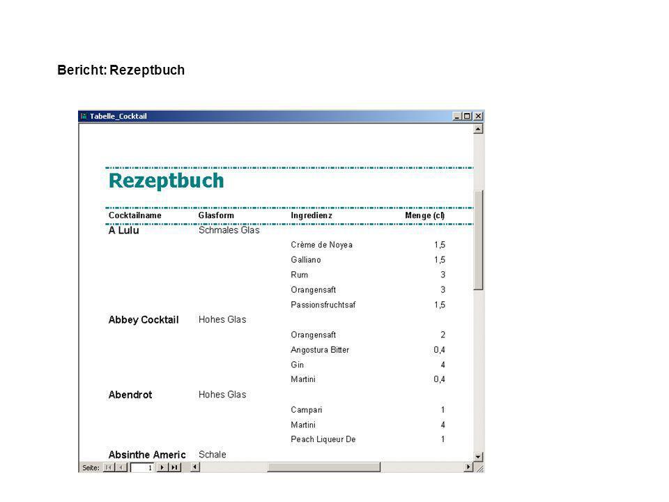Bericht: Rezeptbuch