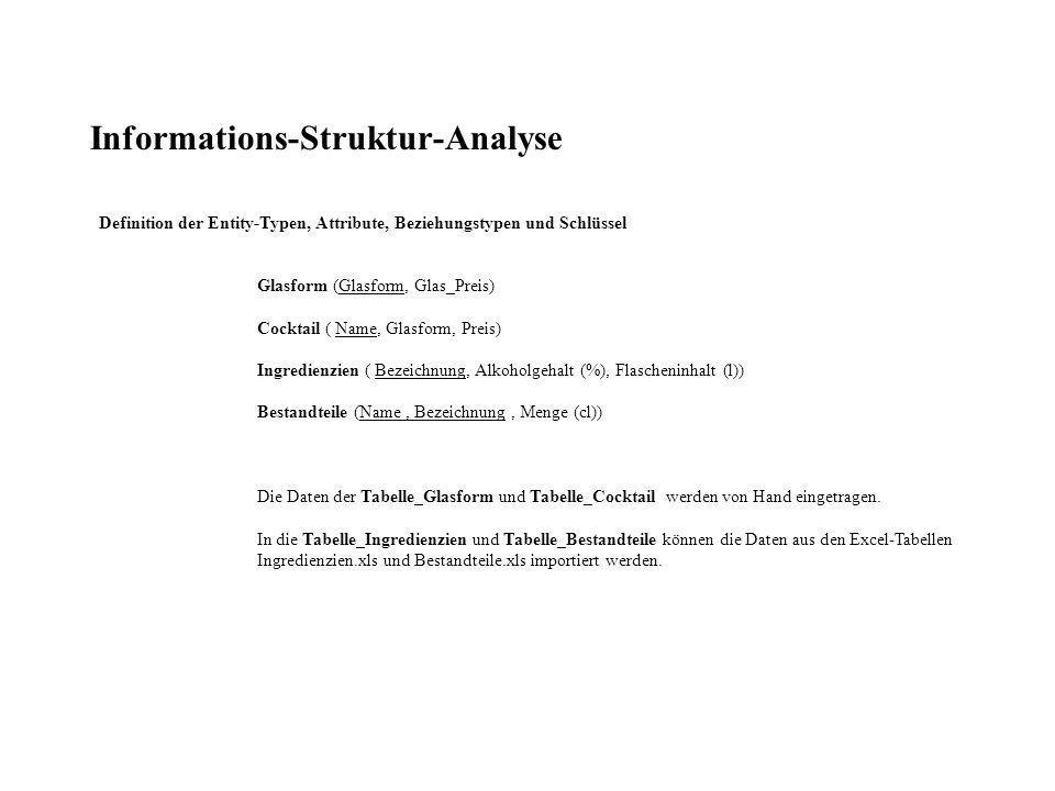 Abfrage der Alkoholmengen in den Bestandteilen: Datenblattansicht
