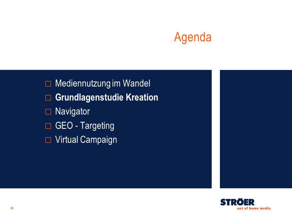 Agenda 20 Mediennutzung im Wandel Grundlagenstudie Kreation Navigator GEO - Targeting Virtual Campaign