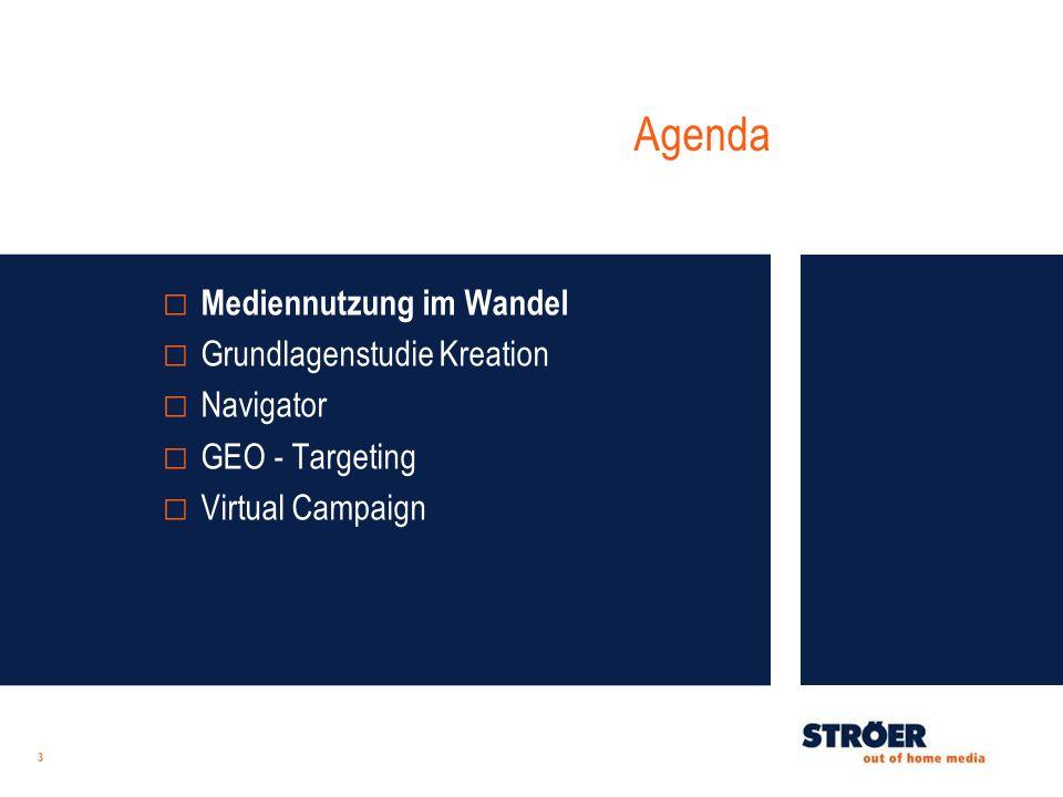 Agenda 3 Mediennutzung im Wandel Grundlagenstudie Kreation Navigator GEO - Targeting Virtual Campaign