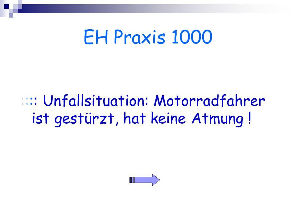 EH Praxis 1000 :::: Unfallsituation: Motorradfahrer ist gestürzt, hat keine Atmung !