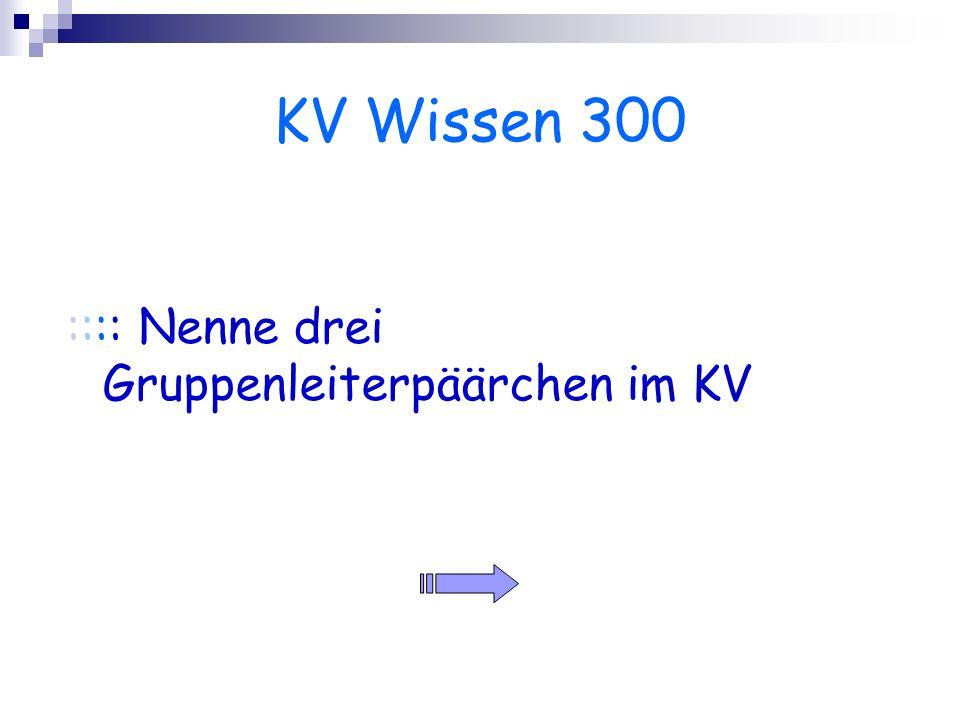 KV Wissen 300 :::: Nenne drei Gruppenleiterpäärchen im KV