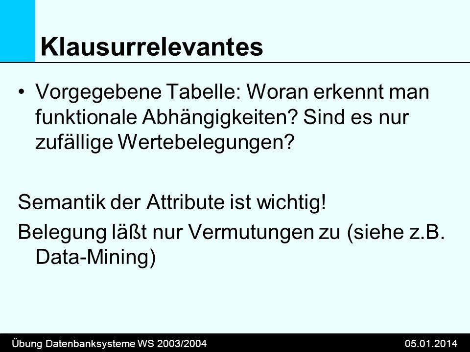 Übung Datenbanksysteme WS 2003/200405.01.2014 Klausurrelevantes Vorgegebene Tabelle: Woran erkennt man funktionale Abhängigkeiten.