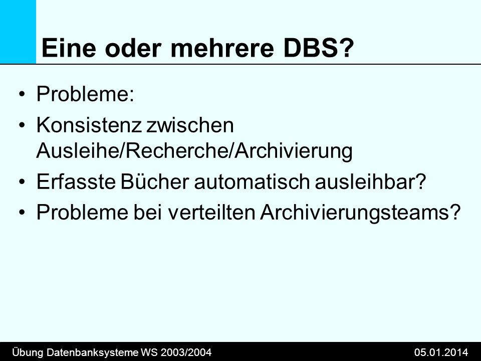 Übung Datenbanksysteme WS 2003/200405.01.2014 Eine oder mehrere DBS? Probleme: Konsistenz zwischen Ausleihe/Recherche/Archivierung Erfasste Bücher aut