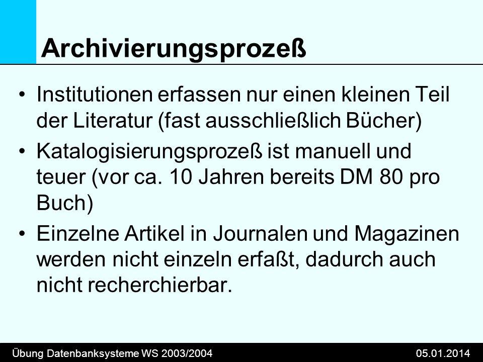 Übung Datenbanksysteme WS 2003/200405.01.2014 Archivierungsprozeß Institutionen erfassen nur einen kleinen Teil der Literatur (fast ausschließlich Bücher) Katalogisierungsprozeß ist manuell und teuer (vor ca.