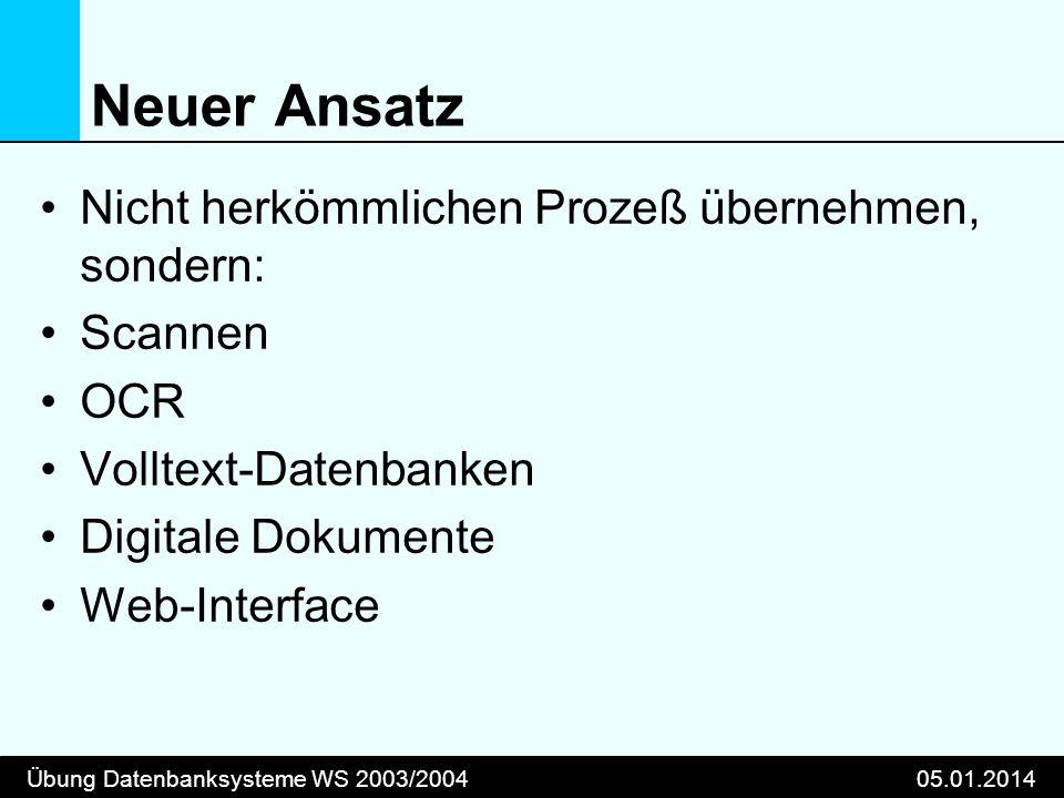 Übung Datenbanksysteme WS 2003/200405.01.2014 Neuer Ansatz Nicht herkömmlichen Prozeß übernehmen, sondern: Scannen OCR Volltext-Datenbanken Digitale Dokumente Web-Interface