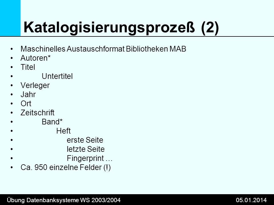 Übung Datenbanksysteme WS 2003/200405.01.2014 Katalogisierungsprozeß (2) Maschinelles Austauschformat Bibliotheken MAB Autoren* Titel Untertitel Verle