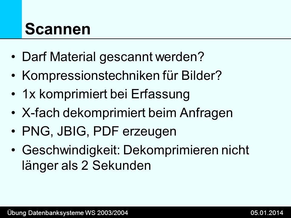 Übung Datenbanksysteme WS 2003/200405.01.2014 Scannen Darf Material gescannt werden? Kompressionstechniken für Bilder? 1x komprimiert bei Erfassung X-