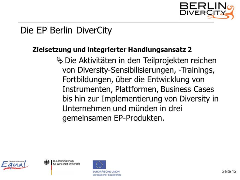 Die EP Berlin DiverCity Zielsetzung und integrierter Handlungsansatz 2 Die Aktivitäten in den Teilprojekten reichen von Diversity-Sensibilisierungen, -Trainings, Fortbildungen, über die Entwicklung von Instrumenten, Plattformen, Business Cases bis hin zur Implementierung von Diversity in Unternehmen und münden in drei gemeinsamen EP-Produkten.