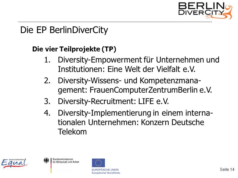 Die EP BerlinDiverCity Die vier Teilprojekte (TP) 1.Diversity-Empowerment für Unternehmen und Institutionen: Eine Welt der Vielfalt e.V.