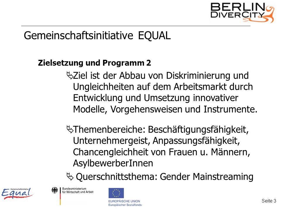 Gemeinschaftsinitiative EQUAL Zielsetzung und Programm 2 Ziel ist der Abbau von Diskriminierung und Ungleichheiten auf dem Arbeitsmarkt durch Entwicklung und Umsetzung innovativer Modelle, Vorgehensweisen und Instrumente.