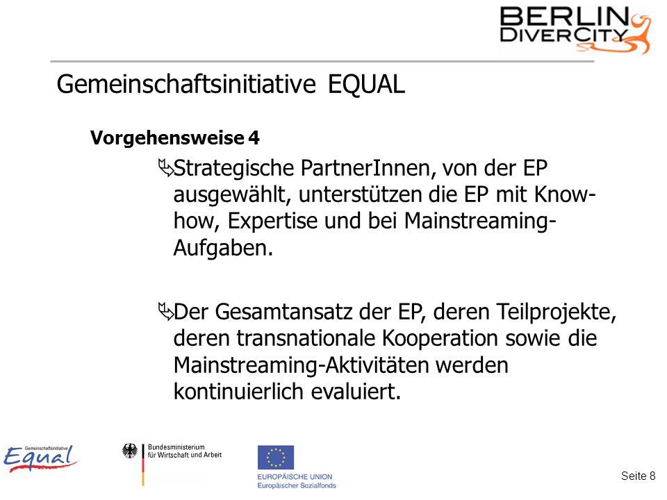 Gemeinschaftsinitiative EQUAL Vorgehensweise 4 Strategische PartnerInnen, von der EP ausgewählt, unterstützen die EP mit Know- how, Expertise und bei Mainstreaming- Aufgaben.