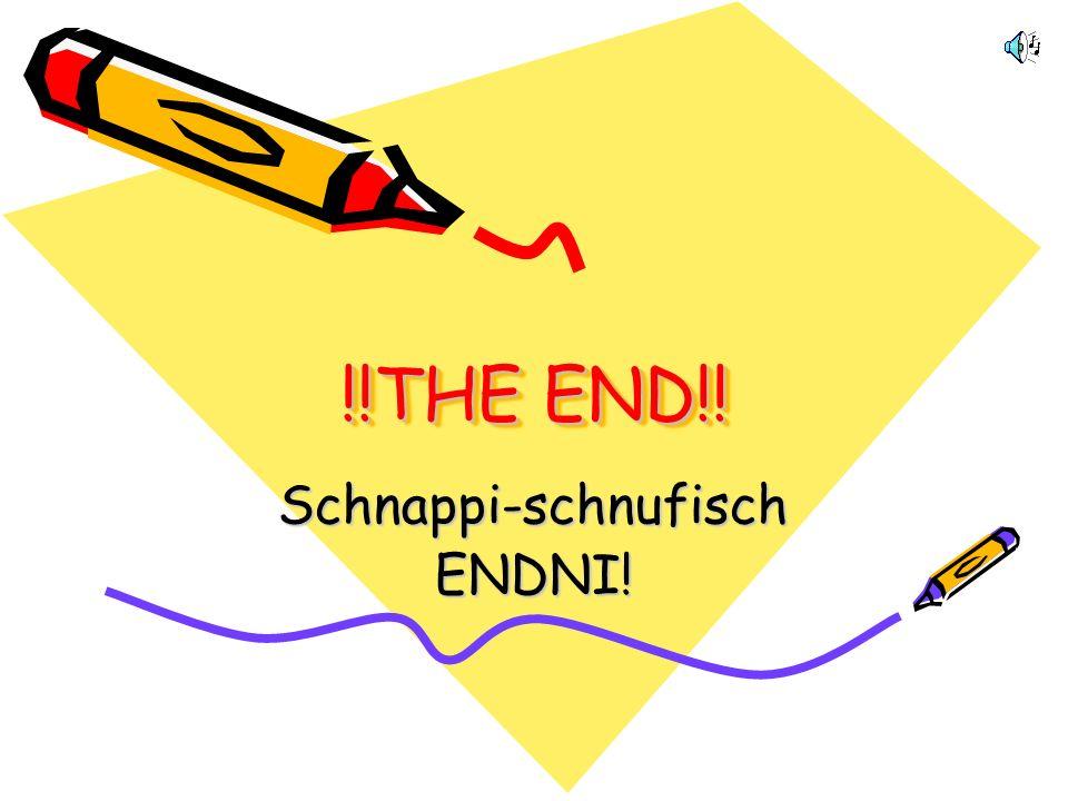 Schnappi-schufisch: THE END Es werden sicherlich noch mehr schnappi- schnufische Wörter erfunden werden. Es sind auch NICHT alle angeführt worden. Vie