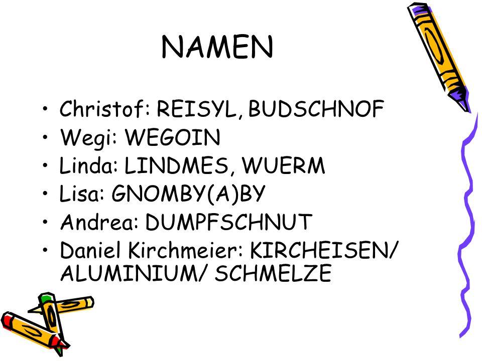 NAMEN Christof: REISYL, BUDSCHNOF Wegi: WEGOIN Linda: LINDMES, WUERM Lisa: GNOMBY(A)BY Andrea: DUMPFSCHNUT Daniel Kirchmeier: KIRCHEISEN/ ALUMINIUM/ SCHMELZE