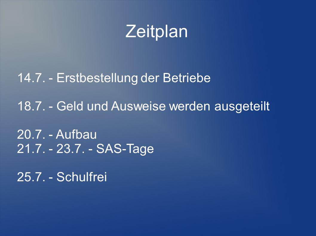 Zeitplan 14.7. - Erstbestellung der Betriebe 18.7.