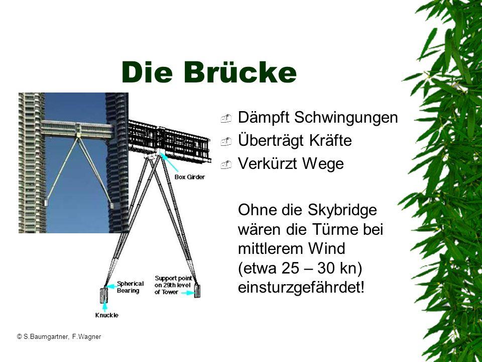 © S.Baumgartner, F.Wagner Die Brücke Dämpft Schwingungen Überträgt Kräfte Verkürzt Wege Ohne die Skybridge wären die Türme bei mittlerem Wind (etwa 25