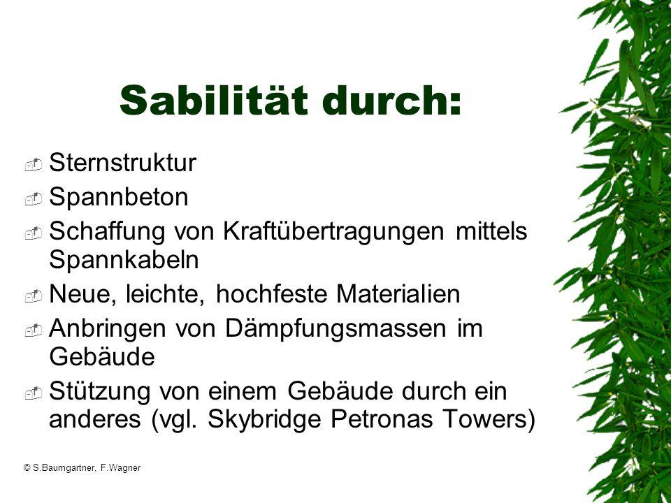 © S.Baumgartner, F.Wagner Sabilität durch: Sternstruktur Spannbeton Schaffung von Kraftübertragungen mittels Spannkabeln Neue, leichte, hochfeste Mate