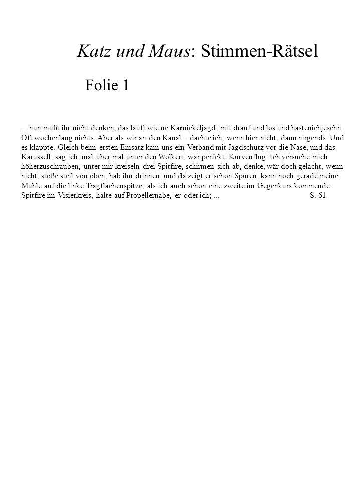 Katz und Maus: Stimmen-Rätsel Folie 2...