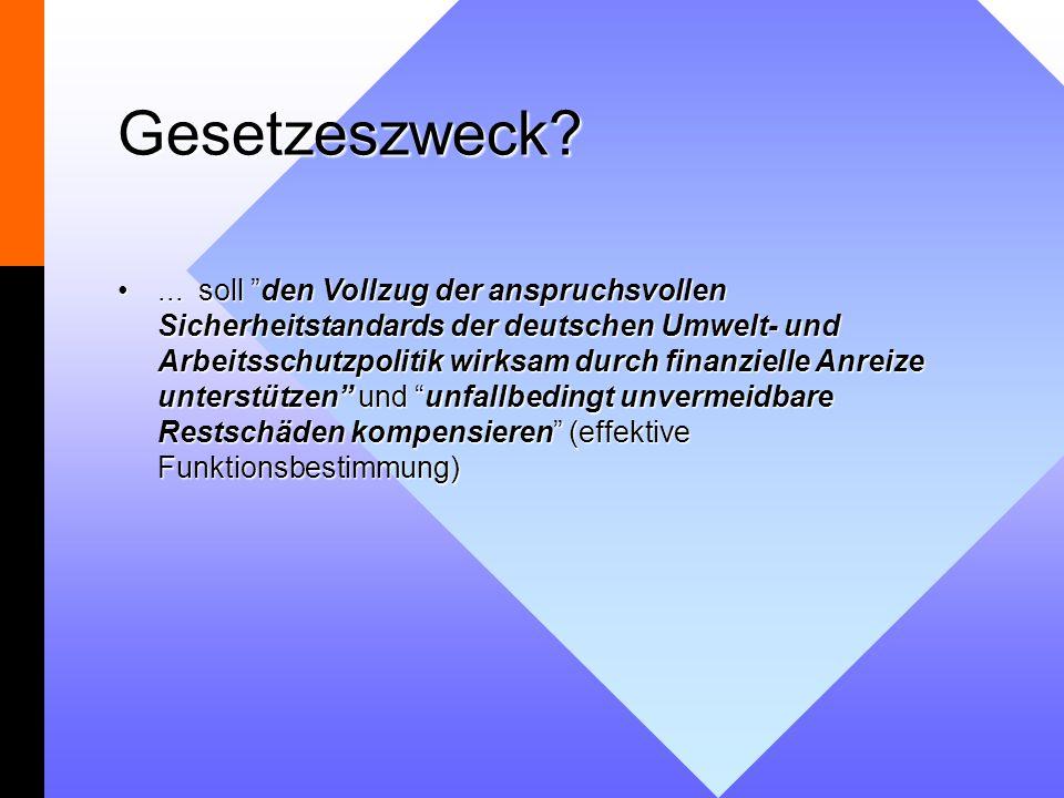 Gesetzeszweck?... soll den Vollzug der anspruchsvollen Sicherheitstandards der deutschen Umwelt- und Arbeitsschutzpolitik wirksam durch finanzielle An