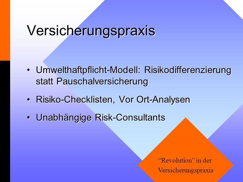 Versicherungspraxis Umwelthaftpflicht-Modell: Risikodifferenzierung statt PauschalversicherungUmwelthaftpflicht-Modell: Risikodifferenzierung statt Pa