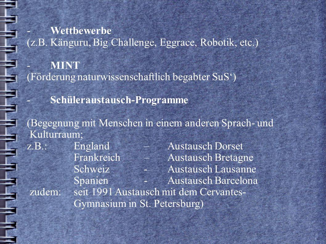 -Wettbewerbe (z.B. Känguru, Big Challenge, Eggrace, Robotik, etc.) - MINT (Förderung naturwissenschaftlich begabter SuS) -Schüleraustausch-Programme (