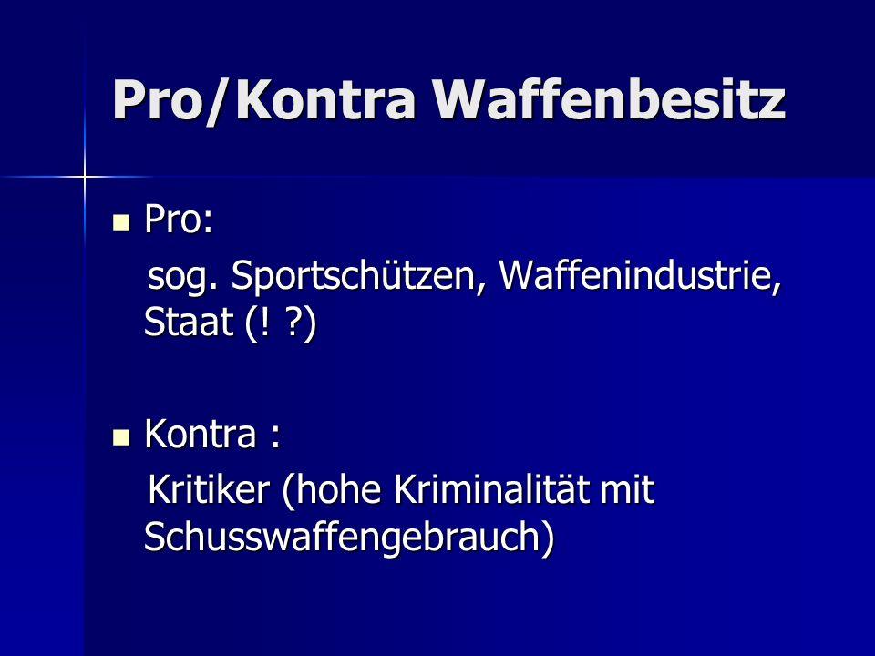 Pro/Kontra Waffenbesitz Pro: Pro: sog. Sportschützen, Waffenindustrie, Staat (! ?) sog. Sportschützen, Waffenindustrie, Staat (! ?) Kontra : Kontra :