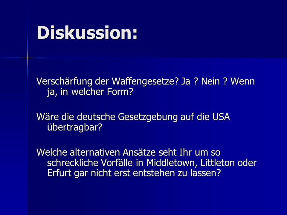 Diskussion: Verschärfung der Waffengesetze? Ja ? Nein ? Wenn ja, in welcher Form? Wäre die deutsche Gesetzgebung auf die USA übertragbar? Welche alter
