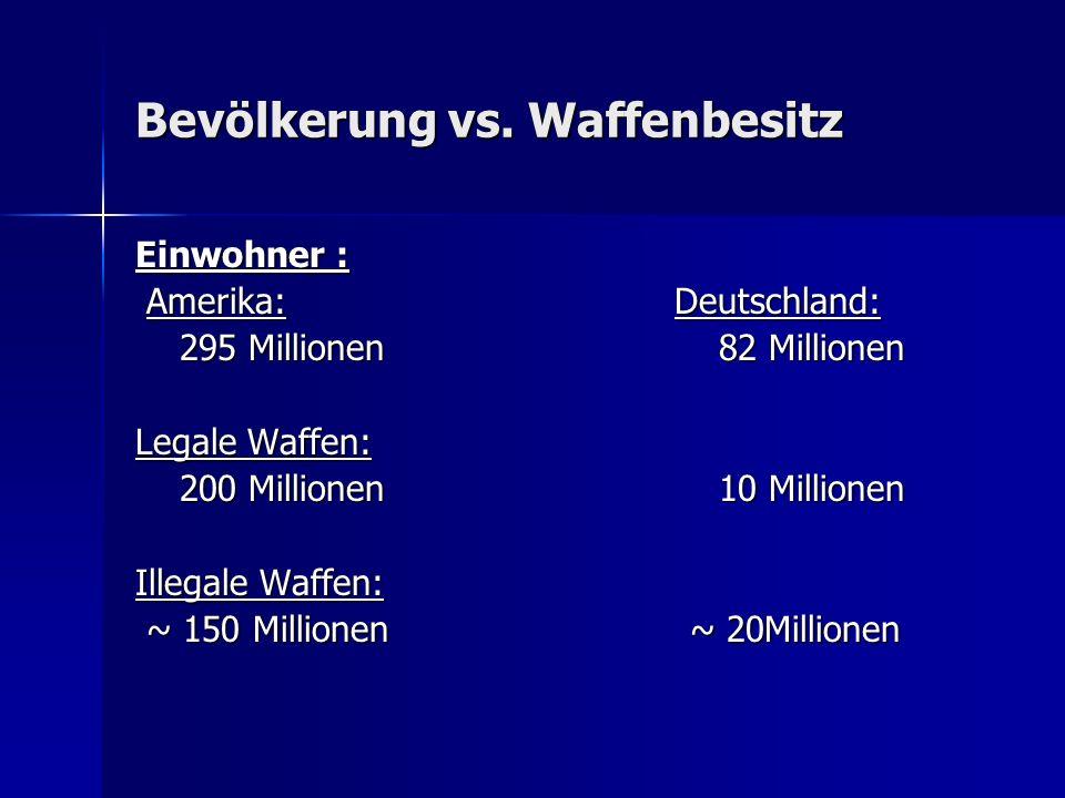 Bevölkerung vs. Waffenbesitz Einwohner : Amerika: Deutschland: Amerika: Deutschland: 295 Millionen 82 Millionen 295 Millionen 82 Millionen Legale Waff