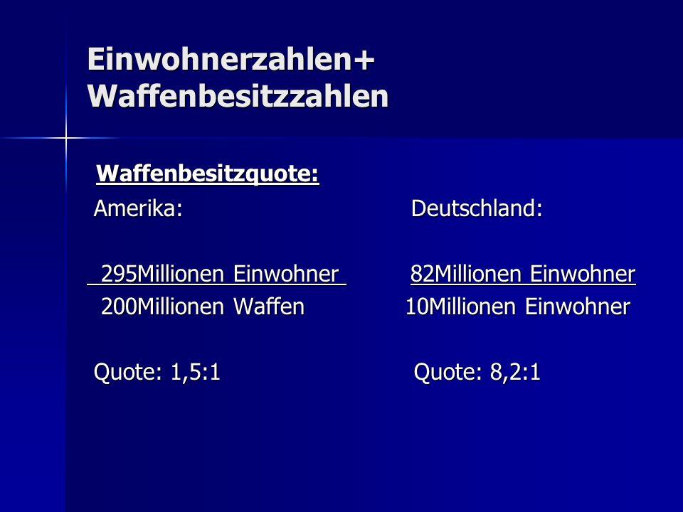 Einwohnerzahlen+ Waffenbesitzzahlen Waffenbesitzquote: Waffenbesitzquote: Amerika: Deutschland: Amerika: Deutschland: 295Millionen Einwohner 82Million