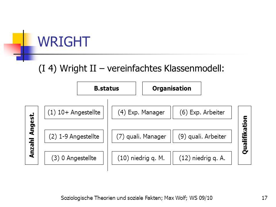 17 WRIGHT (I 4) Wright II – vereinfachtes Klassenmodell: Soziologische Theorien und soziale Fakten; Max Wolf; WS 09/10 B.status (1) 10+ Angestellte (2